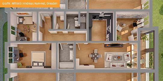 Stadtpalais am volkspark 1 og we 09 wachtel wohnbauten for Wohnung 3d planer